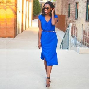 J. Crew Blue Drapey Perforated Dress